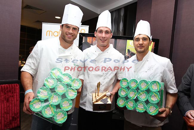 Ty Hafan Celebrity Chef.Jamie Roberts, Simon Jones & Nathan Cleverly..Maldron Hotel.26.09.12.©Steve Pope