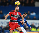 Laurent Deporte of Huddersfield Town challenged by Aaron Lennon of Everton during the premier league match at the Goodison Park Stadium, Liverpool. Picture date 2nd December 2017. Picture credit should read: Simon Bellis/Sportimage