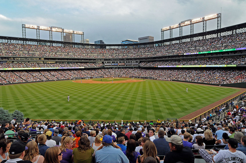 18 JUNE 2011:    A general view from the outfield bleachers  during a regular season interleage game between the Detroit Tigers and the Colorado Rockies at Coors Field in Denver, Colorado. The Rockies beat the Tigers 5-4.   *****For Editorial Use Only*****