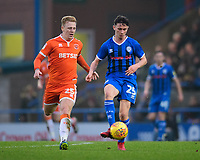 Rochdale's Daniel Adshead under pressure from Blackpool's Callum Guy<br /> <br /> Photographer Chris Vaughan/CameraSport<br /> <br /> The EFL Sky Bet League One - Rochdale v Blackpool - Wednesday 26th December 2018 - Spotland Stadium - Rochdale<br /> <br /> World Copyright &copy; 2018 CameraSport. All rights reserved. 43 Linden Ave. Countesthorpe. Leicester. England. LE8 5PG - Tel: +44 (0) 116 277 4147 - admin@camerasport.com - www.camerasport.com