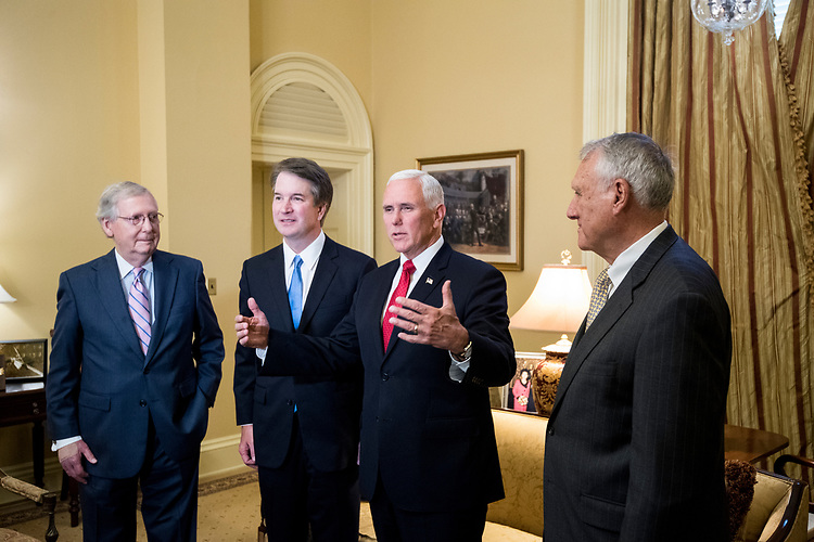 UNITED STATES - JULY 10: From left, Senate Majority Leader Mitch McConnell, R-Ky., Supreme Court nominee Brett Kavanaugh, Vice President Mike Pence, and former Sen. Jon Kyl, R-Ariz., meet in McConnell's office in the Capitol on Tuesday, July 10, 2018, the day after President Donald Trump nominated Kavanaugh to the Supreme Court. (Photo By Bill Clark/CQ Roll Call/POOL)