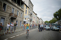 yellow jersey Vincenzo Nibali (ITA/Astana) to the start<br /> <br /> 2014 Tour de France<br /> stage 16: Carcassonne - Bagnères-de-Luchon (237km)