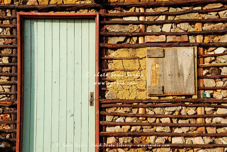Door and facade of traditional house, Swaziland, Ezulwini Valley
