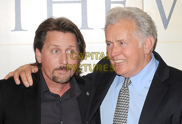 "EMILIO ESTEVEZ & MARTIN SHEEN.The UK Premiere of ""The Way"", BFI Southbank, London, England..February 21st, 2011.headshot portrait black blue hand on shoulder goatee facial hair father dad son family .CAP/BEL.©Tom Belcher/Capital Pictures."