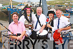 The first-ever sea shanty festival takes place in Portmagee this weekend. .L-R Ger Donoghue (Valentia Pipe Band), Gabriel Butler (Captain Theobold Magee), Pat Pigott (Killorglin District Pipe Band), Helen Farmer and Tommy McGillycuddy (Killorglin District Pipe band)