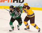 Michael Parks (North Dakota - 15), Brady Skjei (MN - 2) - The University of Minnesota Golden Gophers defeated the University of North Dakota 2-1 on Thursday, April 10, 2014, at the Wells Fargo Center in Philadelphia to advance to the Frozen Four final.