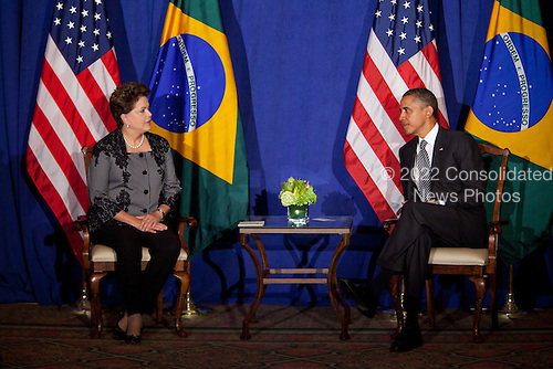 United States President Barack Obama, right, meets with President Dilma Rousseff of Brazil, left, during the United Nations General Assembly in New York, New York on Tuesday, September 20, 2011. .Credit: Allan Tannenbaum / Pool via CNP