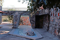 F.L. Wright: Taliesin West. Bridge and Pool.  Photo '77.