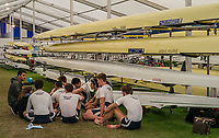 Henley-on-Thames. United Kingdom.  Montclair High School USA. receive some last minutes words from their coach before going out race  fellow Americans St Albans School USA in the Princess Elizabeth  Challenge Cup. 2017 Henley Royal Regatta, Henley Reach, River Thames. <br /> <br /> <br /> 14:54:48  Thursday  29/06/2017   <br /> <br /> [Mandatory Credit. Peter SPURRIER/Intersport Images.