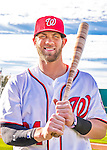 28 February 2016: Washington Nationals outfielder Bryce Harper poses for his Spring Training Photo-Day portrait at Space Coast Stadium in Viera, Florida. Mandatory Credit: Ed Wolfstein Photo *** RAW (NEF) Image File Available ***