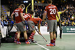 Berlin, Germany, January 31: Players of Club an der Alster line up on the goal line before a penalty corner during the 1. Bundesliga Herren Hallensaison 2014/15 semi-final hockey match between Rot-Weiss Koeln (dark blue) and Club an der Alster (red) on January 31, 2015 at the Final Four tournament at Max-Schmeling-Halle in Berlin, Germany. Final score 4-3 (2-2). (Photo by Dirk Markgraf / www.265-images.com) *** Local caption ***