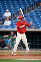 Clearwater Threshers left fielder Mickey Moniak (2) at bat during a game against the Jupiter Hammerheads on April 9, 2018 at Spectrum Field in Clearwater, Florida.  Jupiter defeated Clearwater 9-4.  (Mike Janes/Four Seam Images)