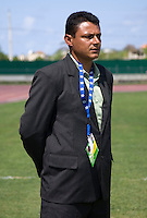 Honduras head coach Emilio Umanzor stands on the sidelines before his game during the group stage of the CONCACAF Men's Under 17 Championship at Catherine Hall Stadium in Montego Bay, Jamaica. Canada tied Honduras, 0-0.