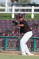 Harold Riggins #6 of the Bakersfield Blaze waits for a throw to first base during a game against the Inland Empire 66ers at San Manuel Stadium on August 21, 2014 in San Bernardino, California. Inland Empire defeated Bakersfield, 3-1. (Larry Goren/Four Seam Images)