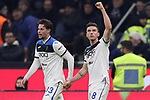 Robin Gosens of Atalanta celebrates with team mate Hans Hateboer after scoring to level the game at 1-1 during the Serie A match at Giuseppe Meazza, Milan. Picture date: 11th January 2020. Picture credit should read: Jonathan Moscrop/Sportimage