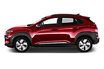 Car driver side profile view of a 2019 Hyundai Kona EV Sky 5 Door SUV
