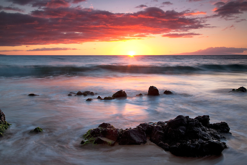 Sunset at beach in Wailea. Maui, Hawaii
