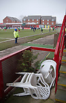Altrincham 2 Worcester City 0, 23/03/2013. Moss Lane, Blue Square Bet North. The home team players warming up before the Blue Square Bet North fixture between Altrincham and Worcester City at Moss Lane, Altrincham. The home team won the match 2-0 watched by 777 spectators on a day when most non-League football in England was cancelled due to adverse weather. Altrincham were historically one of the major English non-League teams but have never been promoted to the Football League. Photo by Colin McPherson.