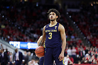 RALEIGH, NC - JANUARY 9: Prentiss Hubb #3 of the University of Notre Dame prepares to take a free throw during a game between Notre Dame and NC State at PNC Arena on January 9, 2020 in Raleigh, North Carolina.