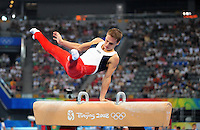 Aug. 9, 2008; Beijing, CHINA; Alexander Artemev (USA) performs on the pommel horse during mens gymnastics qualification during the Olympics at the National Indoor Stadium. Mandatory Credit: Mark J. Rebilas-
