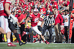 Wisconsin Badgers tight end Zander Neuville (85) carries the ball during an NCAA Big Ten Conference football game against the Maryland Terrapins Saturday, October 21, 2017, in Madison, Wis. The Badgers won 38-13. (Photo by David Stluka)