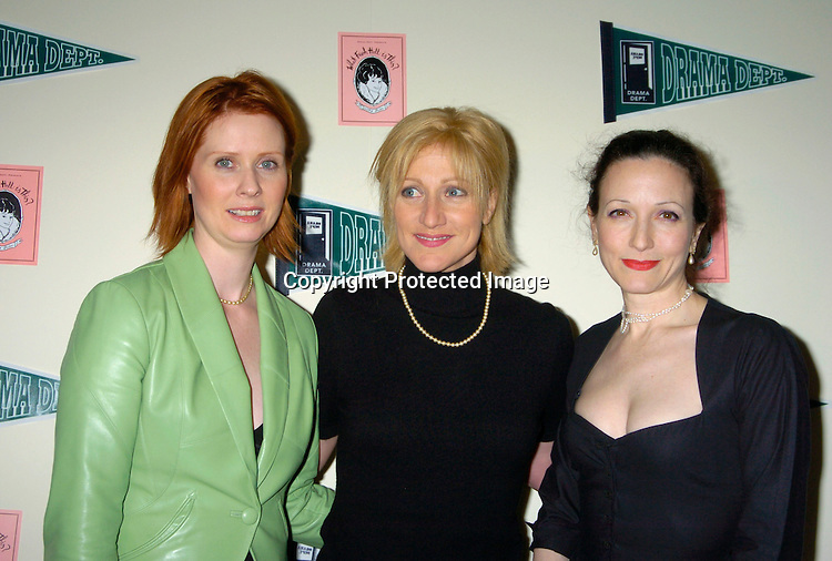 "Cynthia Nixon, Edie Falco and Bebe Neuwirth ..at a Fundraiser for Drama Dept called "" What Fresh Hell Is This? The Actors read from the works of Dorothy Parker. ..It was on April 13, 204 at the Tribeca Rooftop in New YOrk City. People Magazine was one of the sponsors. ..Photo by Robin Platzer, Twin Images"