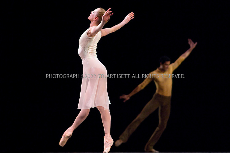 """4/18/2007--Seattle, WA, USA..Two's Company (Pas de trois)..Music:  Antonin Dvorak (String Quartet in F Major, """"The American,"""" Op. 96, 1893; 2nd movement).Choreography: Toni Pimble (staged by Peter Boal).First performance: May 30, 1992; New York City Ballet (Diamond Project).Duration: 8 minutes..Full dress rehearsal performed by McCaw Hall, Seattle, WA. Dancers are:..Patricia Barker (left).Karel Cruz (right)...Photograph ©2007 Stuart Isett.All rights reserved"""
