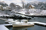 Winter scene at the harbor in Camden, Maine, USA