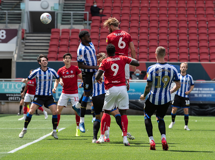 Bristol City's Nathan Baker headers the ball at the Sheffield Wednesday's goal<br /> <br /> Photographer David Horton/CameraSport<br /> <br /> The EFL Sky Bet Championship - Bristol City v Sheffield Wednesday - Sunday 28th June 2020 - Ashton Gate Stadium - Bristol <br /> <br /> World Copyright © 2020 CameraSport. All rights reserved. 43 Linden Ave. Countesthorpe. Leicester. England. LE8 5PG - Tel: +44 (0) 116 277 4147 - admin@camerasport.com - www.camerasport.com