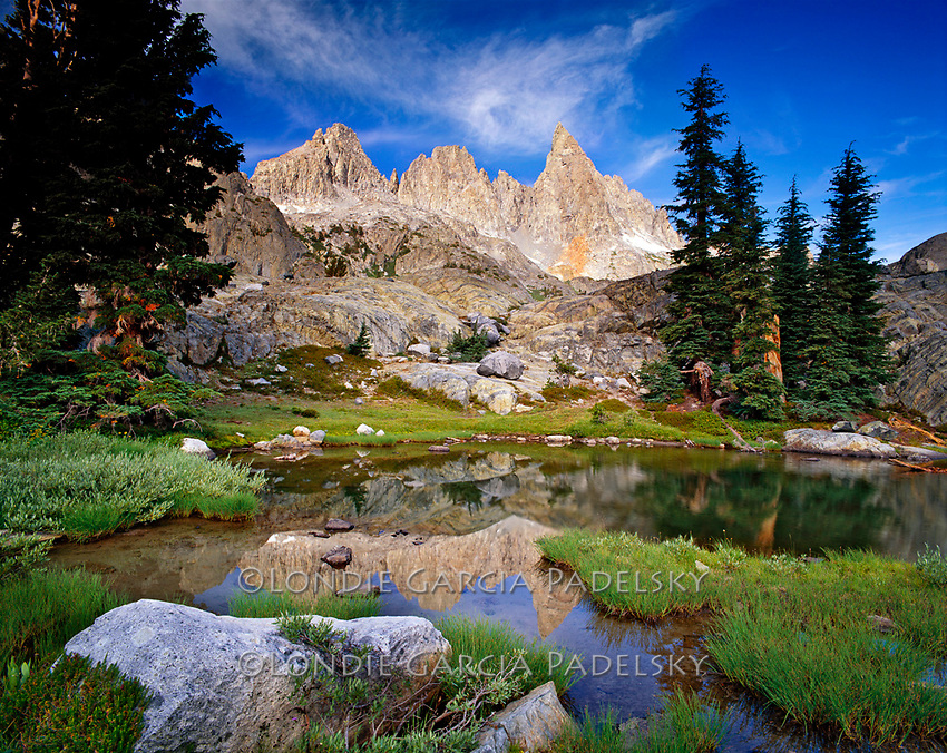 Minarets and Ritter Range, reflection at Minaret Lake, Ansel Adams Wilderness, California
