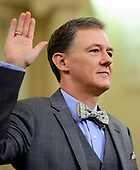 George Kent, Deputy Assistant Secretary for European and Eurasian Affairs, United States Department of State, is sworn-in to testify during the US House Permanent Select Committee on Intelligence public hearing as they investigate the impeachment of US President Donald J. Trump on Capitol Hill in Washington, DC on Wednesday, November 13, 2019.<br /> Credit: Ron Sachs / CNP<br /> (RESTRICTION: NO New York or New Jersey Newspapers or newspapers within a 75 mile radius of New York City)