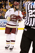 Anthony Aiello (Boston College - Braintree, MA) - The Boston College Eagles defeated the Harvard University Crimson 3-1 in the first round of the 2007 Beanpot Tournament on Monday, February 5, 2007, at the TD Banknorth Garden in Boston, Massachusetts.  The first Beanpot Tournament was played in December 1952 with the scheduling moved to the first two Mondays of February in its sixth year.  The tournament is played between Boston College, Boston University, Harvard University and Northeastern University with the first round matchups alternating each year.