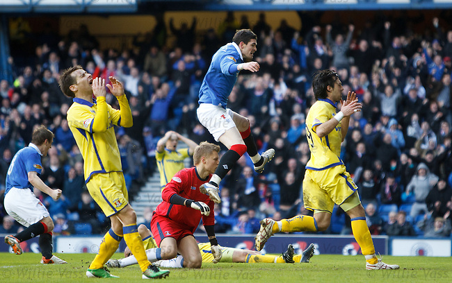 Tim Clancy puts the ball past his own keeper to score the winner for Rangers