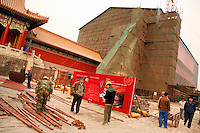 Workers erect scaffolding for restoration on the The Hall of Supreme Harmony at the centre of the Forbidden City..Beijing, China. .Dec 2006