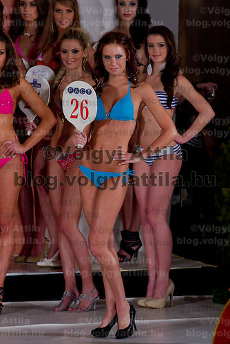 Hemela Noemi participates the Miss Hungary beauty contest held in Budapest, Hungary on December 29, 2011. ATTILA VOLGYI