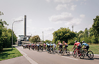 peloton passing 1 of the architectural wonders of Belgium: the (50 yr old / giant) boat-lift of Ronqui&egrave;res<br /> <br /> 98th Brussels Cycling Classic 2018<br /> One Day Race:  Brussels &gt; Brussels (201km)