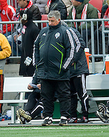 Sigi Schmid coach of the Seattle Sounders FC watches intensely during MLS action at BMO Field on April 4, 2009. Seattle won 2-0.