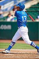 Luis Paz (13) of the Ogden Raptors bats against the Idaho Falls Chukars in Pioneer League action at Lindquist Field on July 2, 2017 in Ogden, Utah. Ogden defeated Idaho Falls 6-5. (Stephen Smith/Four Seam Images)
