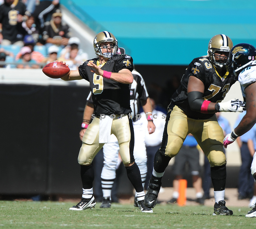 DREW BREES, of the New Orleans Saints, in action during the Saints game against the Jacksonville Jaguars on October 2, 2011 at EverBank Field in Jacksonville, FL. The Saints beat the Jaguars 23-10.