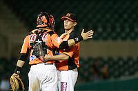 Jonathan Acevez y Jason Urquidez  festeja triunfo de naranjeros , durante el juego a beisbol de Naranjeros vs Cañeros durante la primera serie de la Liga Mexicana del Pacifico.<br /> 15 octubre 2013
