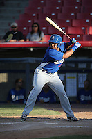 Dian Toscano (16) of the Rancho Cucamonga Quakes bats against the High Desert Mavericks at Heritage Field on August 7, 2016 in Adelanto, California. Rancho Cucamonga defeated High Desert, 10-9. (Larry Goren/Four Seam Images)