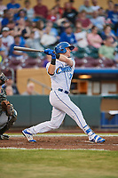Ryan O'Hearn (24) of the Omaha Storm Chasers bats against the Round Rock Express at Werner Park on May 27, 2018 in Papillion , Nebraska. Round Rock defeated Omaha 8-3. (Stephen Smith/Four Seam Images)