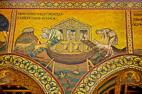 Medieval Byzantine mosaics of Noah putting animals into the arc, Monreale Cathedral, Sicily