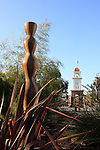 Pacific Ave. Clock Tower and sculpture