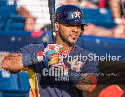 10 March 2014: Houston Astros infielder Jonathan Villar awaits his turn in the batting cage prior to a Spring Training game against the Washington Nationals at Space Coast Stadium in Viera, Florida. The Astros defeated the Nationals 7-4 in Grapefruit League play. Mandatory Credit: Ed Wolfstein Photo *** RAW (NEF) Image File Available ***