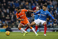 Blackpool's Nathan Delfouneso competing with Portsmouth's Andre Green<br /> <br /> Photographer Andrew Kearns/CameraSport<br /> <br /> The EFL Sky Bet League One - Portsmouth v Blackpool - Saturday 12th January 2019 - Fratton Park - Portsmouth<br /> <br /> World Copyright &copy; 2019 CameraSport. All rights reserved. 43 Linden Ave. Countesthorpe. Leicester. England. LE8 5PG - Tel: +44 (0) 116 277 4147 - admin@camerasport.com - www.camerasport.com