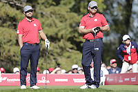 Ryan Moore &amp; J.B. Holmes (Team USA) on the 8th tee during the Friday afternoon Fourball at the Ryder Cup, Hazeltine national Golf Club, Chaska, Minnesota, USA.  30/09/2016<br /> Picture: Golffile | Fran Caffrey<br /> <br /> <br /> All photo usage must carry mandatory copyright credit (&copy; Golffile | Fran Caffrey)