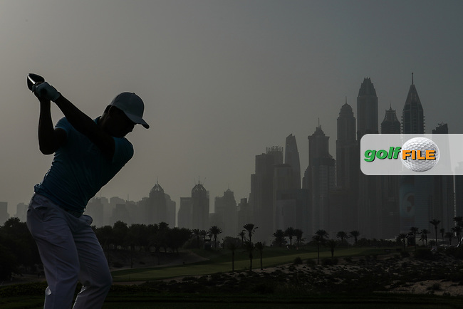 Ashun Wu (CHN) in action during the first round of the Omega Dubai Desert Classic, Emirates Golf Club, Dubai, UAE. 24/01/2019<br /> Picture: Golffile | Phil Inglis<br /> <br /> <br /> All photo usage must carry mandatory copyright credit (&copy; Golffile | Phil Inglis)