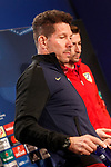 Atletico de Madrid's coach Diego Pablo Cholo Simeone (l) and Gabi Fernandez in press conference. April 11, 2017.(ALTERPHOTOS/Acero)