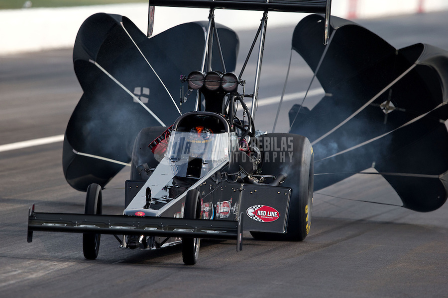 Sept. 1, 2013; Clermont, IN, USA: NHRA top fuel dragster driver Cory McClenathan during qualifying for the US Nationals at Lucas Oil Raceway. Mandatory Credit: Mark J. Rebilas-